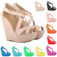 2014 New thick-soled wedges women's Rome high heel patent leather sandals zipper platform sandals zapatos tacon size 4.5-10.5