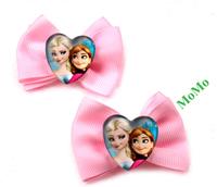 Frozen children's Bowknot hair clips print Elsa princess Anna handmade christmas gift hot selling