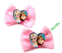 Frozen children's Bowknot hair clips print Elsa princess Anna handmade christmas gift hot selling