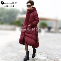 2015 New Fashion Women Winter Down Coat Thickening White Duck Winter Jacket Plus Size 5XL Hooded Overcoat X-long Women Parka