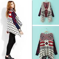 Female Autumn Winter Asymmetrical Sweater Retro Geometric Women Knitted Cardigan Wool Blend Long Sleeves Warm Coats 658200