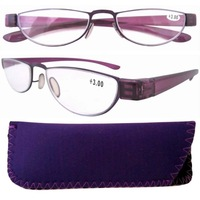 R11003 Purple Stainelss Steel Frame Rim Plastic Arms Women's Reading Glasses +1.0/1.25/1.5/1.75/2.0/2.25/2.5/3.0/3.5