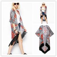 European Women Vintage Loose Style Kimono Cardigan Retro Women Ethnic Floral Jacket Coat Chiffon Blouse + Tassel 657243