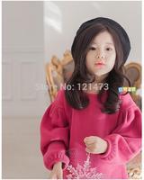 2015 Girls Trendy Solid Round Beck Dresses Autumn Winter Children Clothing Kids Long Sleeve Flower Dress Free Shipping
