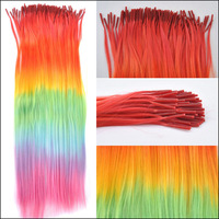 10 Pieces/lot 45cm Rainbow Straight Synthetic Grizzly Hair Extensions Give 10pcs Silicone Beads Free