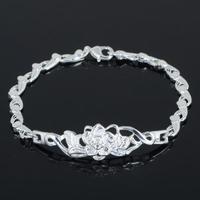 Trendy 925 Silver Flower Bracelet For Women Sterling Silver Plated Flower Chain Lobster Clasp Bracelet Lady Chain Bracelet