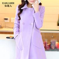 2014 new winter woolen coat long paragraph Korean Girls woolen cape coat loose trench coat warm