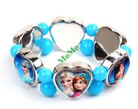 Frozen children's bracelet blue acrylic crystal Princess Anna queen Elsa heart-shaped pendant mixed beads christmas