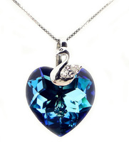Heart of Ocean Crystal Silver Necklace Pendant with a short paragraph clavicle chain fashion jewelry birthday gift woman