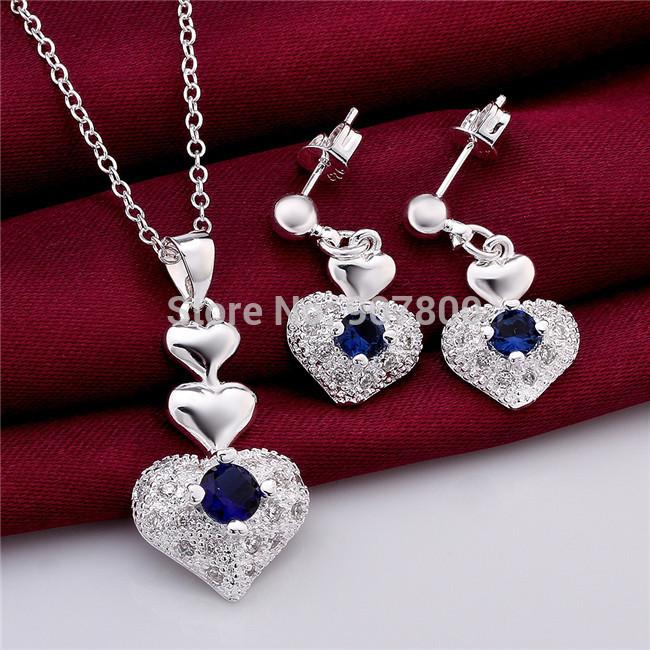 Bijoux Argent Qualité : S mode ensemble de bijoux argent coeur collier et
