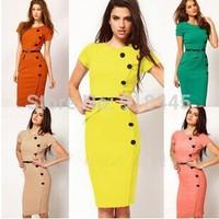 New2014 Plus Size Women Autumn Dress Fashion Vestidos Femininos Casual Desigual Stretch Bodycon Bandage Pencil Office DressLYQ22