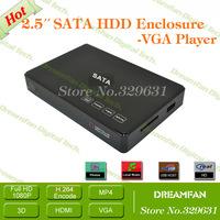 New 2.5 Inch SATA HDD Enclosure Box VGA Full HD Media Player Support External/Built-in 500GB 1TB 2TB Hard Disk Free Shipping
