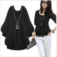 L-6XL 2014 New Summer High Quality Blouse Women Clothing Casual Tops Plus Size Slim Sweet chiffon shirt big yards