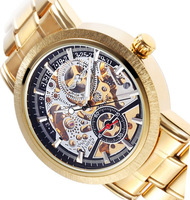 Men's Silver Skeleton Dial Golden Strap Stainless Steel Automatic Mechanical Watch