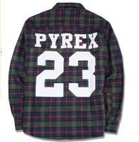 2014 brand new  PYREX 23 flannel shirt california shirt style PYREX VISION Fashion loose men women fashion boy clothing Tee
