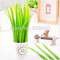 Wholesale 6pcs/lot Newest Gift idea Grass-blade pen pooleaf ballpoint pen small fresh Grass blade pen