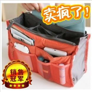 Sac dans le sac, double fermeture à glissière poches portable multifonction voyage sac à main sac de rangement, fadish voyage de maquillage cosmétiques sac de lavage