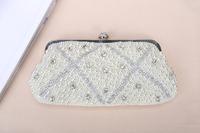 Women's Hot Sale New Fashion Pearl Rhinestone Evening Bag Bridal PU Soft Clutch Bag Wholesale Free shipping