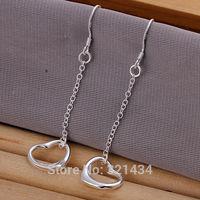 Hot Fashion  925 Sterling Silver womens women Female earrings hook Love Heart drops dangles girl friend birthday gift box KE86