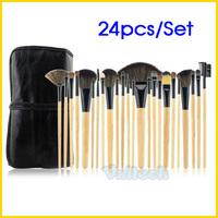 50sets Wood Color Professional 24 PCS Makeup Brushes Set Tools Woman Make up Brush Kit Cosmetic Case Bag