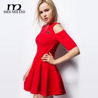 2014 women's red strapless autumn dress ladies basic knitted slim skirt autumn one-piece dress