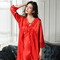 Women Sleepwear Pajamas Set Bath Robes Lace Lingerie Sexy two-piece Silk  Robes Set Kimono Dressing Gown Full Length F50