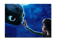 Hand-painted oil painting by numbers DIY Paint Acrylic Drawing With Brush Paints Home Decorating  Train Your Dragon
