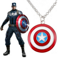 Star Superhero Captain America Shield Pendant Necklace  Woman Pendants Necklaces