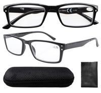 R057 Spring Hinge Retro Wayfarer Style Black Reading Glasses with Case +1.0/+1.25/1.5/1.75/2.0/2.25/2.5/2.75/3/3.5/3.25