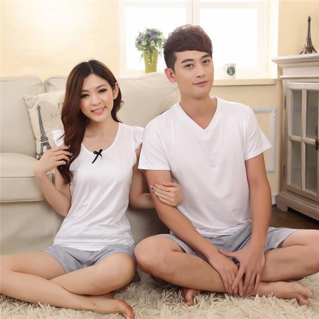 New Summer Men Women White Lover's Pajamas Sets Short Sleeve Sleepwear Nightwear Home Clothes Sleep & Lounge(China (Mainland))
