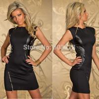 Euramerican Rock Style Women Black Faux Leather Patchwork Zipper Casual Bodycon Dress Female Night Dancer Club Dresses YT895