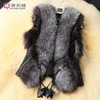 2015 short design female fox fur vest leather vest outerwear plus size fur vest women coat WT9019