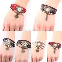 1pcs 4 Colors Original Women Genuine Leather Vintage Watches,Bracelet Wristwatches Butterfly Bracelet Watch