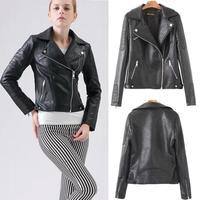 Free Shipping 2014 Women PU Leather Jacket motorcycle Bomber Jaqueta couro Long Sleeves Zipper Slim Leather Jackets lady winter