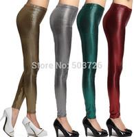 New Arrival Faux Leather Vertical Striped Pattern Leggings Women Slim Stretch Pants