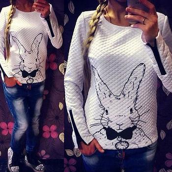 Бесплатная доставка 2014 женщин толстовка весна осень свободного покроя Sweatershirt женщины кролик печатные толстовки пуловеры с застежкой-молнией DF-233