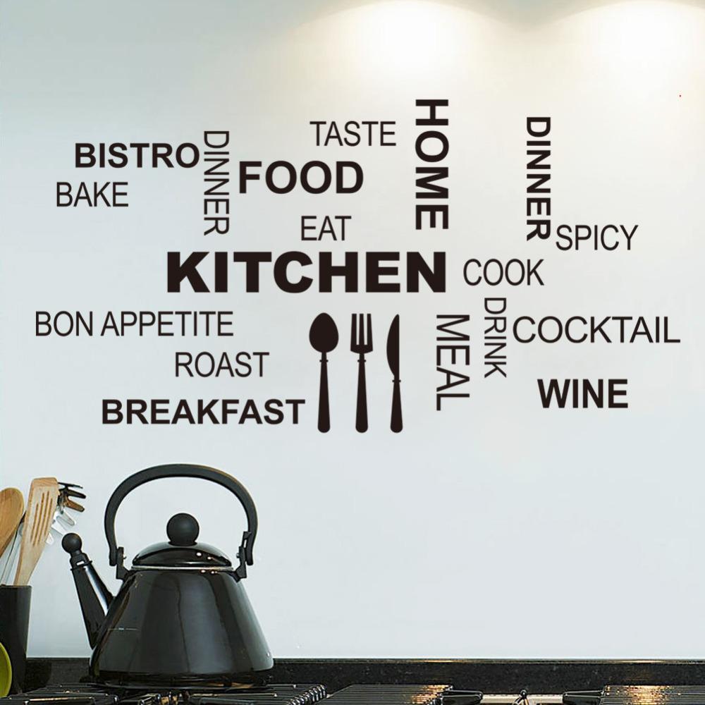 2015 Modern romantic Kitchen Restaurant vinyl stickers wall Decals kitchen decor Mural Wallpaper Drop Shipping(China (Mainland))