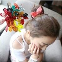 Mini dot bunny ears hair accessories hair ring hair rope  flower hair bands free shipping