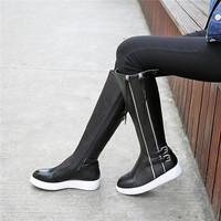 Genuine leather size EU 34-39 Black Fashion boots Italian boots Winter warm plush ladies bootie cowboy combat suede women shoes