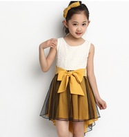 2015 Elegant Girls Kids Princess Bling Swallowtail Vest Dress Cute Girls Wedding Party Birthday Big Bow Dress Free Shipping