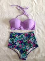 2015 New Bikinis Hot selling Vintage High Waist Bikini Swimwear Women Bandage Swimsuit Push Up Bikini Set Brand Swimwears S-L