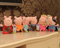 6 pcs/set small size 15cm Peppa George Daddy Mummy Hero Fairy Pig  New Baby Toys Pepa Pig Plush Family Set Doll Gift For child