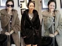 2014 Autumn Winter Casual Women Cloak Hooded Coats Outerwear Overcoat Faux Fur Plush Coat Jacket 3 Colors