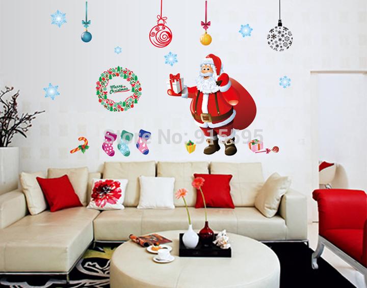 Merry Christmas Gift Xmas Tree Santa Claus PVC Removable Display Window Showcase Decor Home Kid Room Nursery Wall Stickers Decal(China (Mainland))