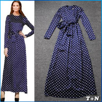 2014 New Stylish Women Long Sleeve Casual Dress Elegant Party Evening Vintage Polka Dot Dresses Size S M L