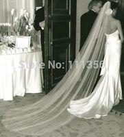 2015 New Style Soft Cut Edge One-tier 3M 118inche Ivory Schleier kappeli Chapel Length huntu Wedding Veils With Comb