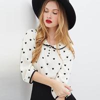 European Style Women Chiffon Blouses Peach Hearts Printed Three Quarter Sleeve Peter Pan Collar Fashion White Tops XS~XXL D655