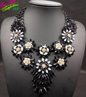 New European ZA Brand Exaggerated Retro Necklace Collar Bone Chain Drop Flower Ladies Pendant Necklace 9587