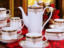 Fashion 15pcs bone china coffee sets Europe gold trim tea sets