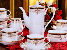 Fashion 15pcs bone china coffee sets Europe gold trim tea sets